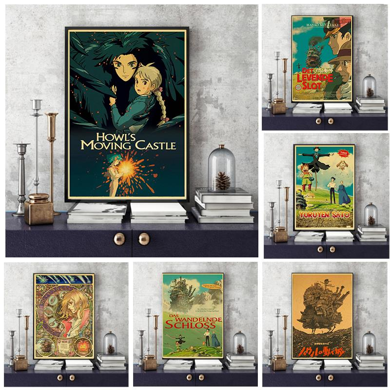 Miyazaki Hayao  Carrrtoon Movie Howl's Moving Castle High Quality Retro Poster Vintage Poster Wall Decor For Home Bar Cafe