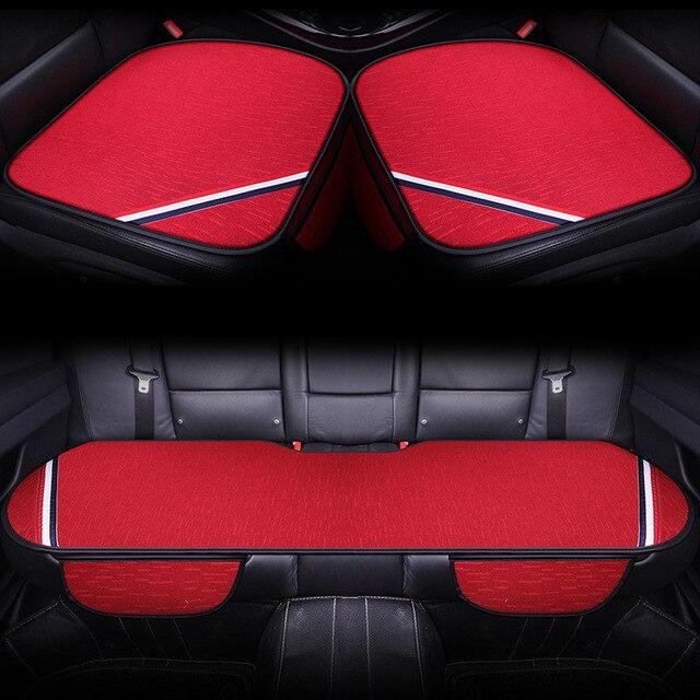 Coussin de siège en coton quatre saisons | Nouveau design à la mode, bande de couleur, petit tapis carré pour siège de voiture trois pièces, coussin de siège universel A