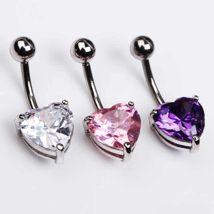 Navel Belly Button Bar Ring Hart Hot Clear Chirurgische Body Piercing Sieraden Staal