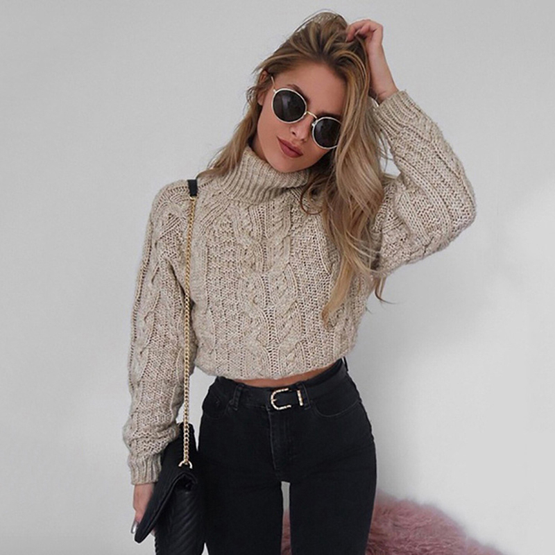 Women Twist Knitting Turtleneck Short Pullovers 2020 Autumn Winter Solid Female Sweater Sexy Long Sleeve Ladies Crop Top