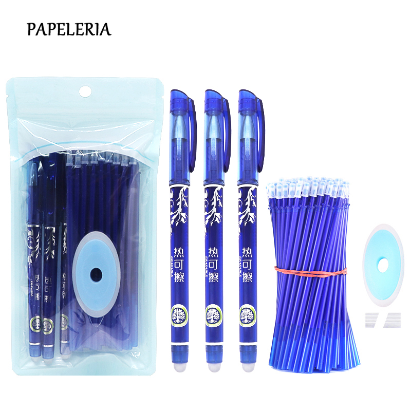 34pcs/lot Erasable Gel Pens Kawaii Stationery 0.5mm Needle Tip Blue Ink Neutral Pen For Student Supplies School Writing Tool
