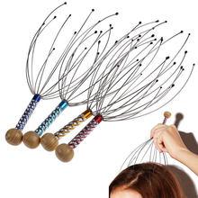 Cabeça de polvo massageador couro cabeludo relaxamento alívio corpo massageador remover tensão muscular cansaço metal cabeça massageador instrumento