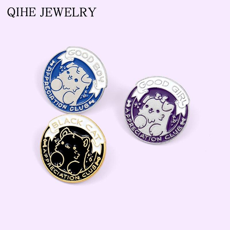 Love Dog Cat Club Pins Black Blue Purple Enamel Round Badge Cute Puppy Kitten Animal Pet Brooches For Women Men Gift Wholesale