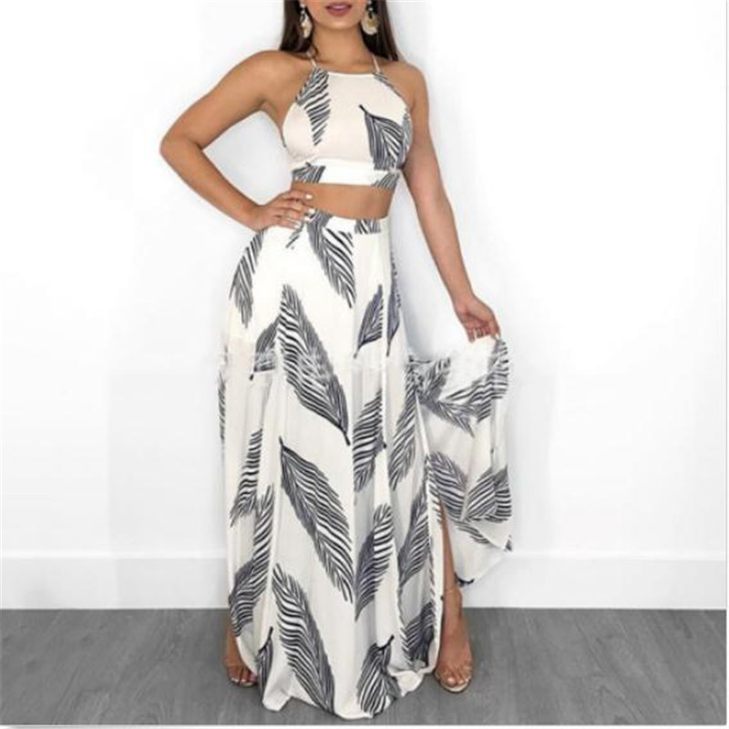 Fashion Female's Summer Costume Sets New Leaves Printed Clothes Set 2PCS Women Short Halter Tops Long Skirts Suit For Ladies Hot
