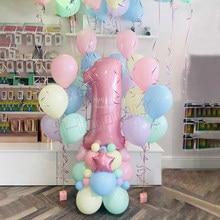 65 pçs/set Macaron 40 polegada Número Foil Balão de Hélio Balões De Látex Rosa Globos Decoração De Aniversário Fontes Do Partido Do Chuveiro Do Bebê