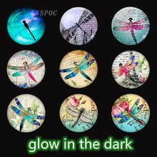 5 PCS/LOT Luminous Dragonfly Photo Glass Cabochon Beads 25mm for Diy Pendant Base Glowing Jewelry Supplies glow in the dark