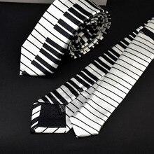 Мужской черный и белый пианино клавиатура Галстук Классический Тонкий Тощий музыкальный галстук D08C