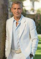 Белый летний льняной Мужской Блейзер 2 предмета вечерние свадебные смокинги приталенные индивидуальные мужские деловые костюмы (пиджак + брюки) для мужчин среднего возраста 1