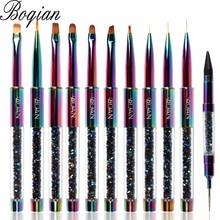 BQAN 11pcs Rainbow Nail Brush Gel Brush  For Manicure Acrylic UV Gel Extension Pen For Nail Polish Painting Drawing Brush Paint