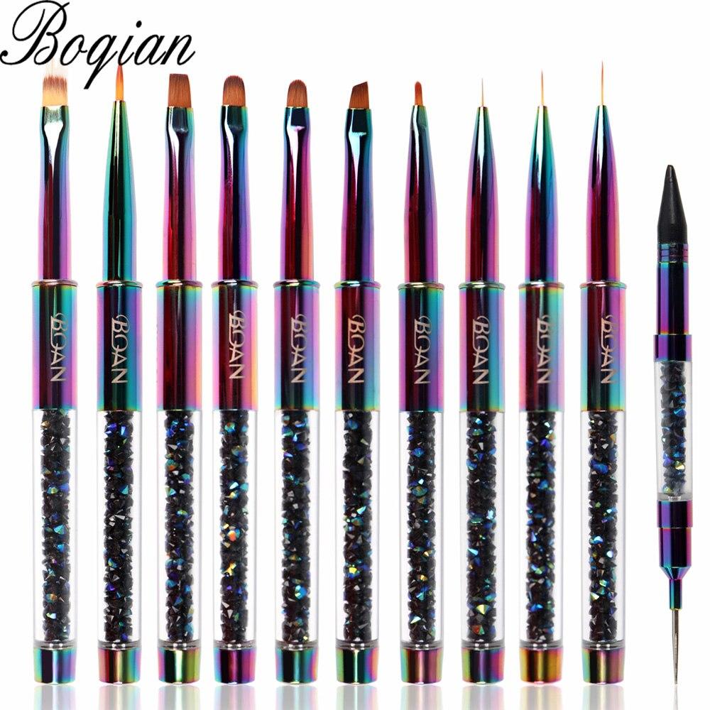 BQAN Rainbow szczotka do paznokci pędzelek do żelu do Manicure akrylowy żel UV przedłużacz do paznokci polski malowanie pędzel narzędzia do malowania