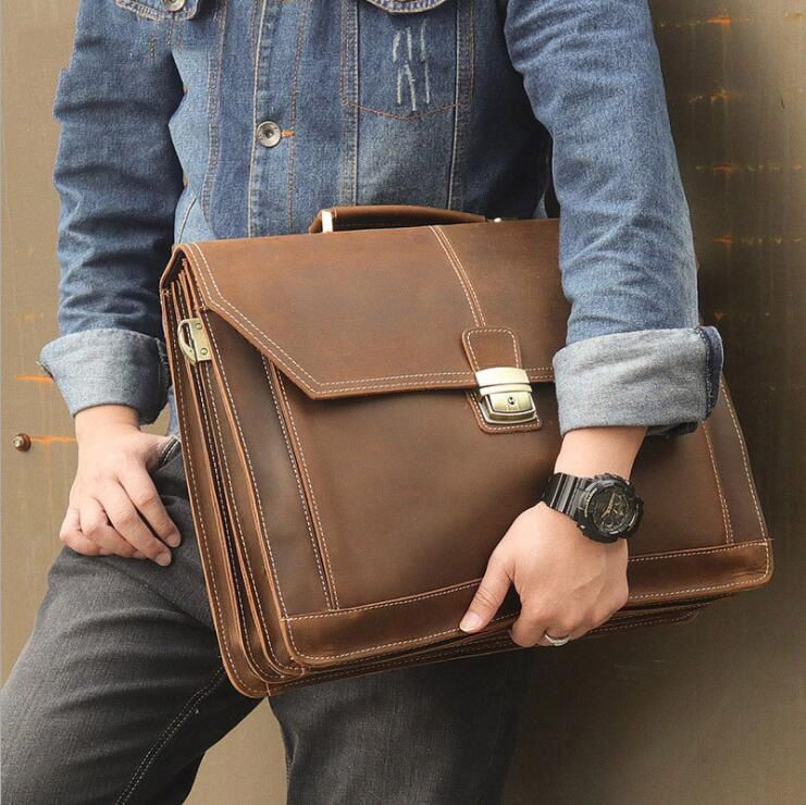 Luufan Double Layer Men Business Briefcase Bag Genuine Leather Men Laptop Shoulder Bag With Handle Large 17 Inch Computer Bag