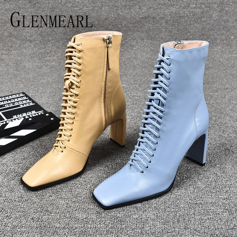 Women Leather Boots Fashion High Heels Shoes Winter Lace Up Woman Martin Boots Square Toe Ankle