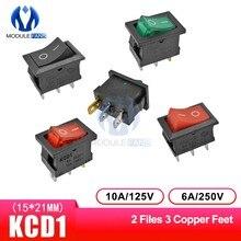 Interruptor basculante de 2 posiciones, 3 pines, 3 P, 3 pines, interruptor de luz, 6A, 250VAC/10A, 125VAC, 5 unids/lote