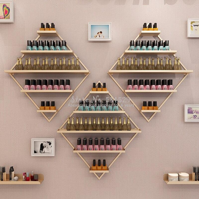 Diamond Shape Golden Nail Polish Organizer Nail Polish Storage Shelf Wall Hanging Cosmetics Shelf Nail Polish Display Rack