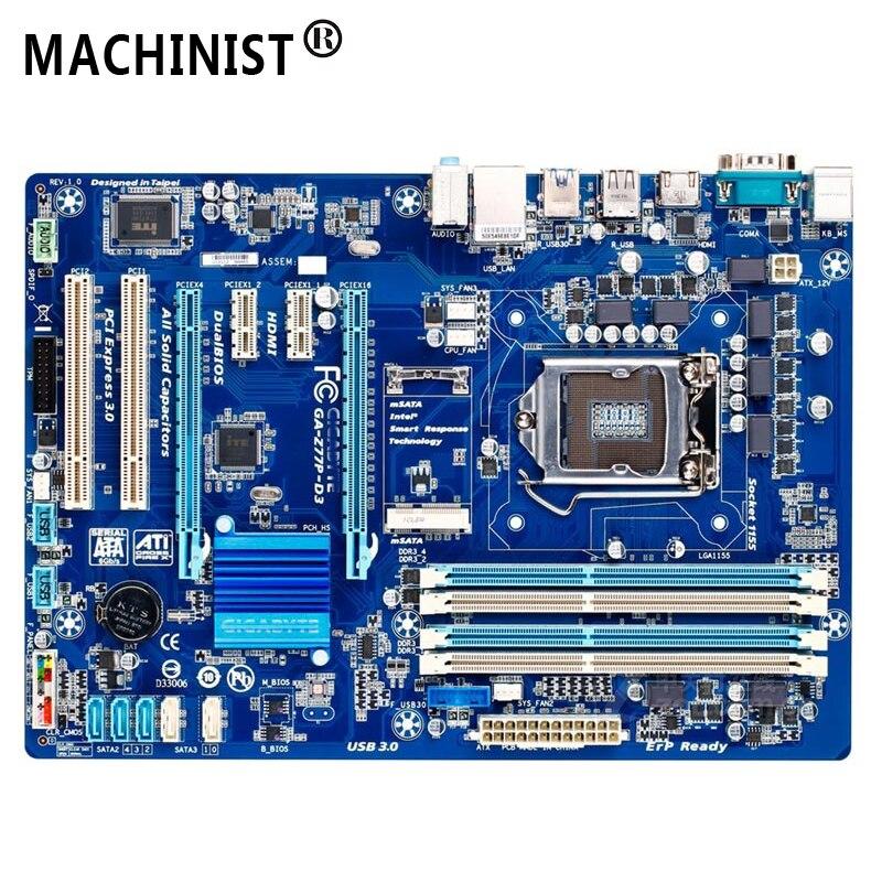 For Gigabyte GA-Z77P-D3 Desktop motherboard MB Z77 LGA 1155 ATX DDR3 32GB SATA3.0 USB3.0 100% fully Tested Free shipping