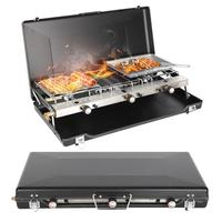 2 Burner Stove Portable Foldable Grill For Outdoor Camping Family Picnic Dropship