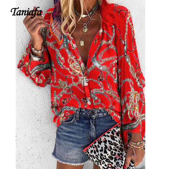 100% silk blouse women lightweight fabric striped printed plus o neck ruffles half sleeves loose casual tops new fashion 2017 Taniafa New Fashion Plus Size Shirts Women V Neck Long Sleeve Button Fancy Tops Casual Loose Print Blouse