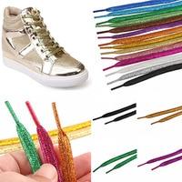 Cordones de zapatos metálicos brillantes para hombre y mujer, zapatillas de deporte de encaje dorado, zapato plano cordones, cordones deportivos plateados para correr, 120cm
