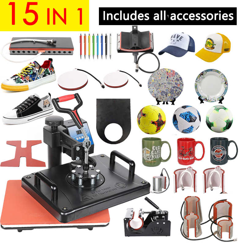 Promotions 30*38CM 15 in 1 Combo Hitze Presse Maschine 2D Sublimation Drucker Druckmaschine Tuch T-shirt Kappe becher Platten Fall