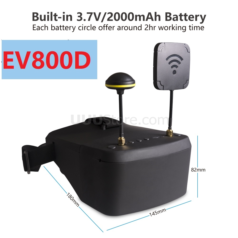 EV800D 5.8G 40CH 5 Inch 800*480 Video Headset HD DVR Diversity FPV Goggles With Battery For RC Model RC FPV Drone