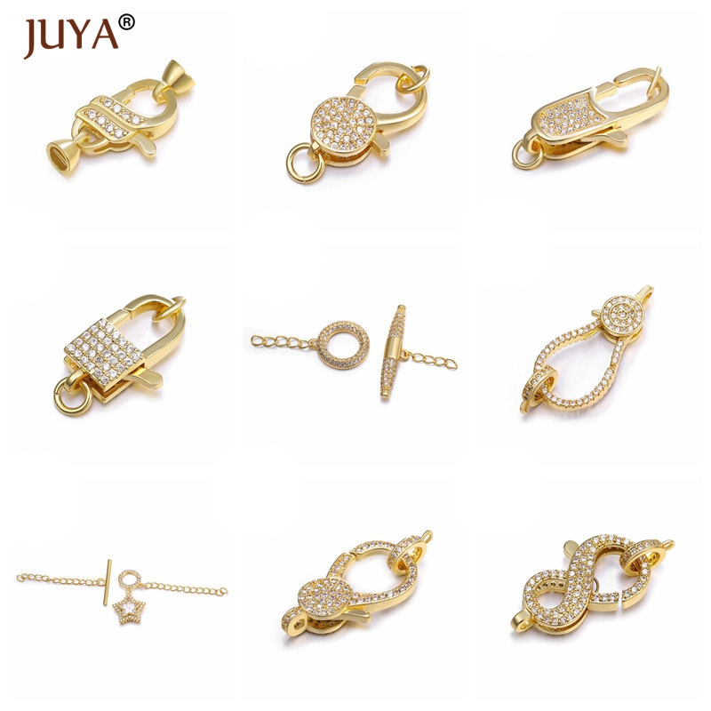 Juya Trendy Jewelry Making Supplies Copper Metal Inlay Zirconia Lobster Clasps Hooks Clasp For Bracelets Necklaces Accessories