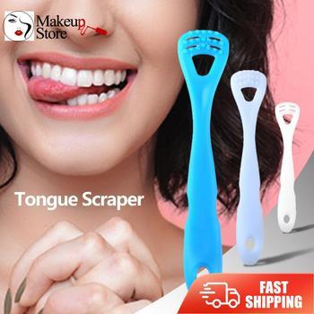 Skrobaczka do języka szczotka do czyszczenia języka czyszczenie higiena jamy ustnej narzędzie do usuwania nieświeżego oddechu narzędzie do pielęgnacji jamy ustnej tanie i dobre opinie CN (pochodzenie) Tongue Scraper 120 X 20 X 10mm 4 72 X 0 79 X 0 39 White Blue Sky Blue