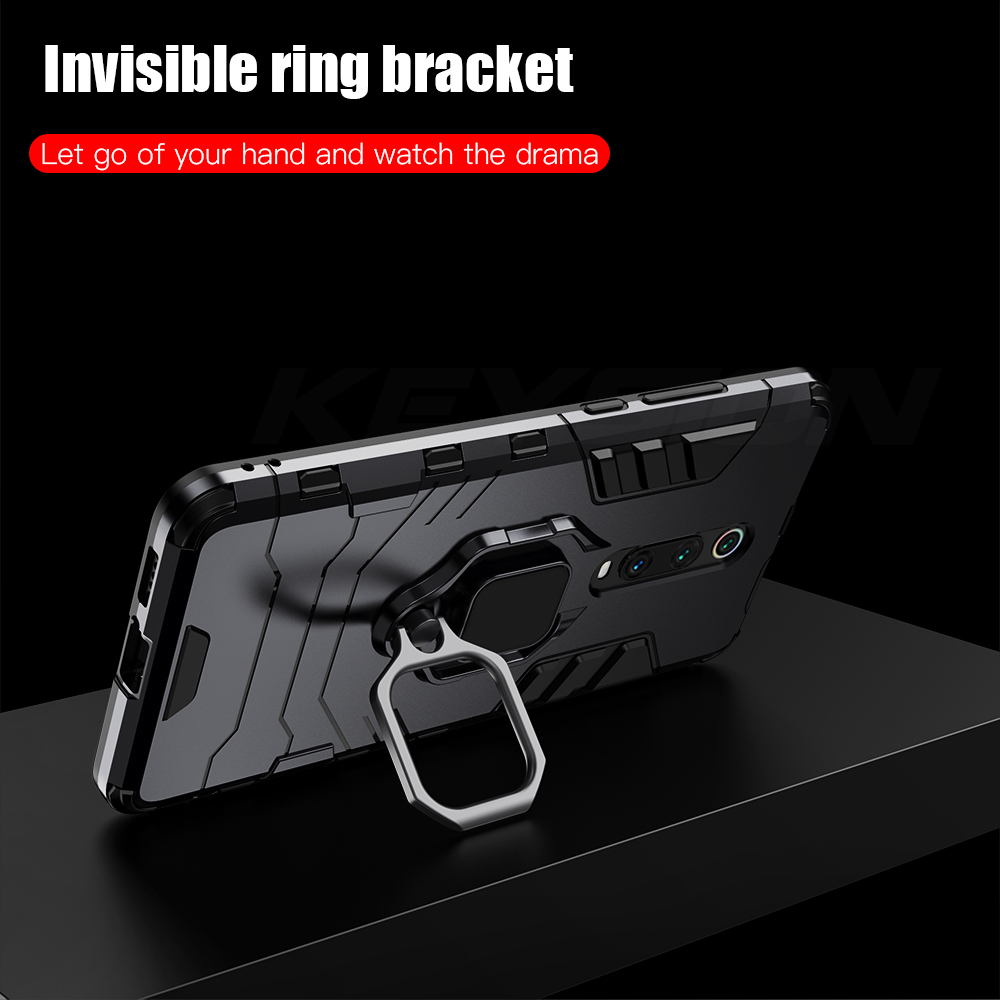 KEYSION Shockproof Armor Case For Xiaomi Mi 9T Pro Mi A3 CC9e Stand Car Holder Finger Ring Back Cover for Redmi K20 Note 7 Pro in Fitted Cases from Cellphones Telecommunications