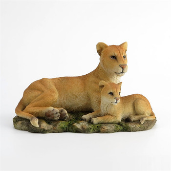 Birthday Gift Lion Art Sculpture Lion and Cub Animal Figurine Statue Creative Resin Crafts Home Decoration R4958