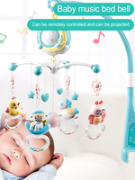 360 Degree Rotation Baby Rattle Remote Control Baby Crib Hanging Toys Starlight Projection Musical Baby Bed Bell Baby Teether