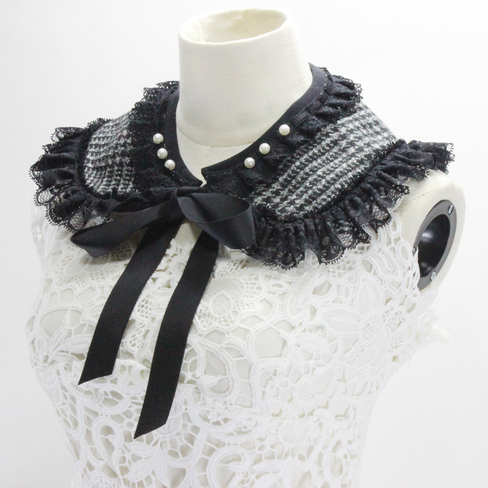 Lattice Woolen Lace Edge Doll Sweater Loose Coat Decoration Lead Fake Collar New Free Shipping Necklace Shirt Women