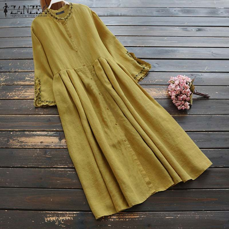 Plus Size Women Shirt Dresses ZANZEA 2020 Fashion Casual Sundress Flare Sleeve Embroidery Midi Vestidos Female Cotton Robe 5XL