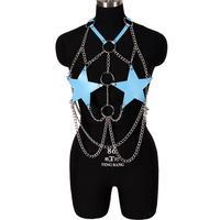 Sujetador de arnés para el cuerpo con cadena para mujer, pentagrama de cuero azul, Sexy, jaula para el cuerpo, Punk, gótico, fiesta de baile, Top corto, lencería ajustable