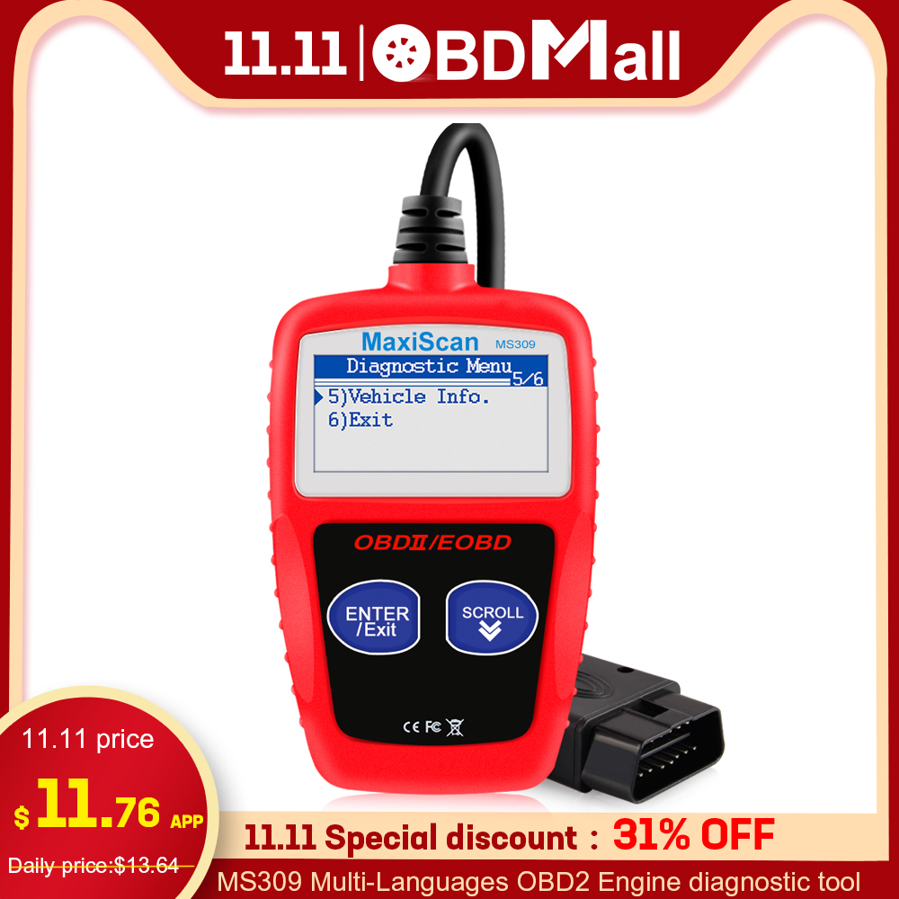 Original MS309 OBD2 Scanner Multi-languages Automotive Scanner Engine Diagnostic Tool ODB 2 EOBD MS309 Auto Diagnostic Scan Tool
