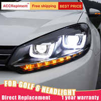 2Pcs LED Scheinwerfer Für Volkswagen Golf6 2009-2013 led auto lichter Engel augen xenon HID KIT Nebel lichter LED Tagfahrlicht
