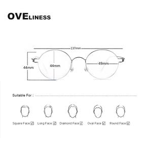 Image 5 - チタンネジなし眼鏡処方レトロ眼鏡フレーム女性ラウンド近視光学韓国眼鏡メガネフレーム男性