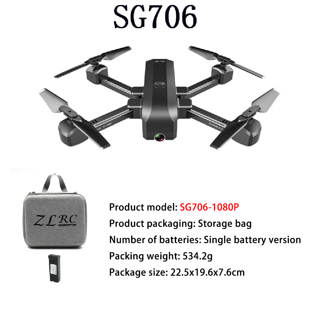 Pre-owned  SG706 drone 4K WiFi 1080p dual camera quadcopter optical flow stability height RC helicopter RC toy