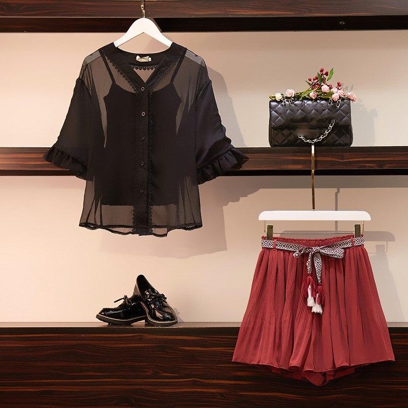 2019 été gilet et demi manches hauts et mousseline de soie Shorts costumes solide col en V doux 3 pièce pure noir grande taille femmes ensemble