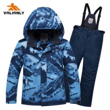 2019 Winter Ski Suit Boys Kids Snow Suit Children Waterproof Windproof Warm Ski Jacket Pants 2 Pieces Snowboarding Sets Outdoor цена и фото