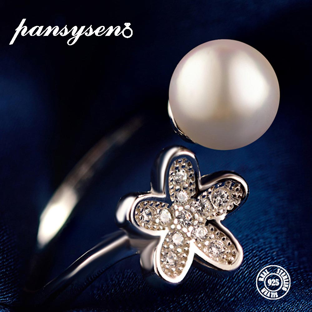 PANSYSEN 925-Sterling-Silver Wedding-Jewerly Ring Zircon Pearl Round with 6MM Flower-Shape