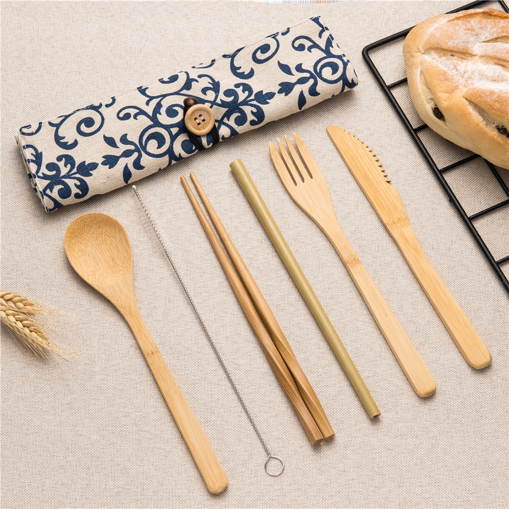 2019new Portable Cutlery Bag Wooden Tableware Cutlery Set Reusable Straw Fork Spoon Knife Set Chopsticks for Travel Cutlery Set