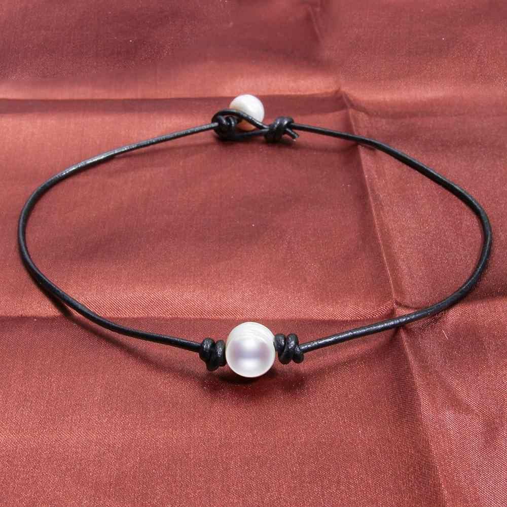 واحد أبيض 100% لؤلؤ مستزرع في الماء العذب المختنق قلادة للنساء جلد طبيعي مجوهرات اليدوية