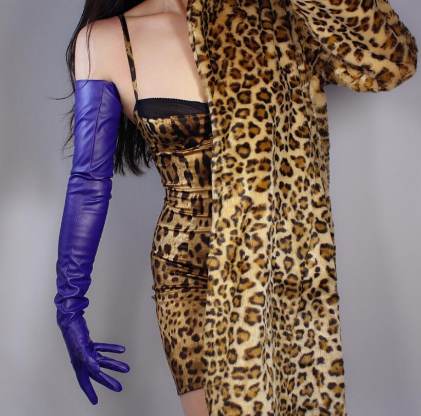Women's Fashion Dark Purple Sexy Slim Faux Pu Leather Glove Lady's Club Performance Formal Party Leather Long Glove 70cm R2604