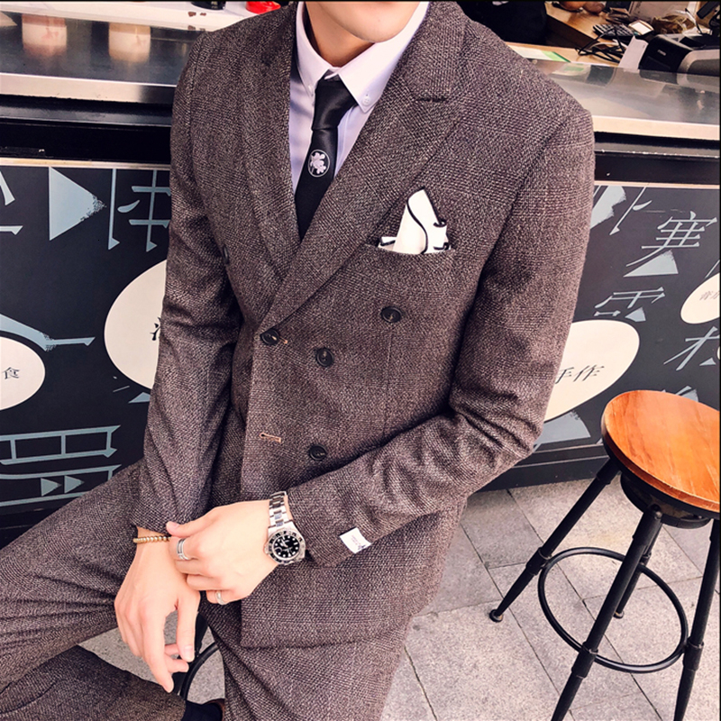 Autumn Double Breasted Mens Suits Smoking Jackets Brown Mens Suits With Pants Tuxedo Slim Fit 3 Pcs Prom Social Club Outfits