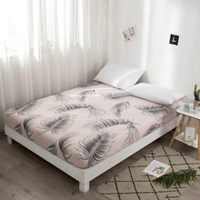 Mattress Cover Protector Nordic Geometric Bed Covers Elastic Band Fitted Bed Sheet Modern Plant Pattern Bedspread