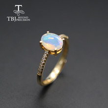 Simple  Opal women Ring Natural Ethiopia oval 6*8mm 1carat gemstone 925 Sterling silver  yellow gold fine jewelry tbj promotion
