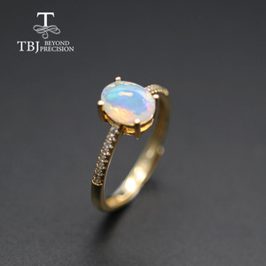 Image 1 - Simple  Opal women Ring Natural Ethiopia oval 6*8mm 1carat gemstone 925 Sterling silver  yellow gold fine jewelry tbj promotion