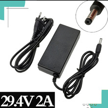29.4v 2A充電器24v 25.2v 25.9v 29.4v 7 3sリチウムバッテリー29.4v充電器e バイクの充電器dc 5.5*2.1ミリメートル、eu/米国/au/英国
