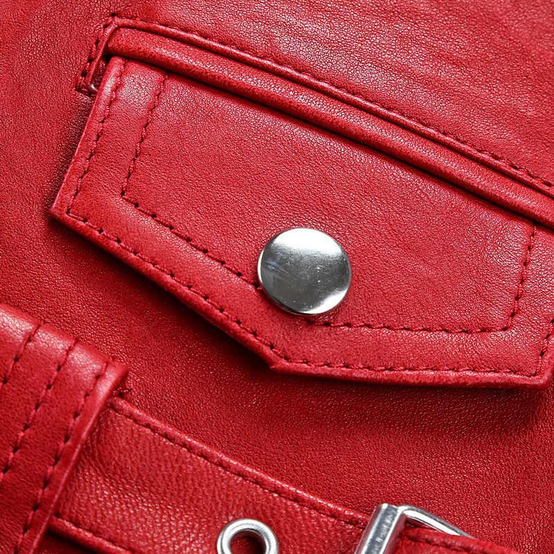 Fabryka 2020 nowa wiosna moda damska skóra motocyklowa kurtka pani garbowanie warzyw kożuch czerwone kurtki motocyklowe