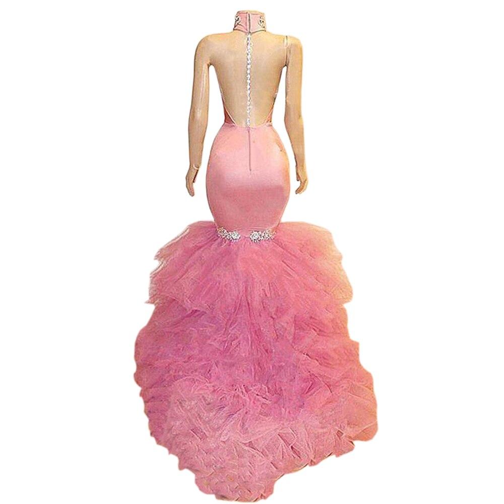 Borgonha sereia vestidos de baile para africano preto meninas 2019 vestido de festa sexy sem costas halter rendas vestidos de festa - 6
