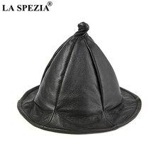 LA SPEZIA Wizard Hat For Men Women Black Cosplay  Genuine Leather Sheepskin Bucket Folding Autumn WInter Fishingmen Cap